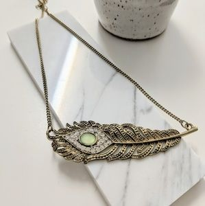 American Eagle Gold Feather Statement Necklace Gem